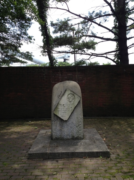The marker commemorating William Penn's first steps in Pennsylvania
