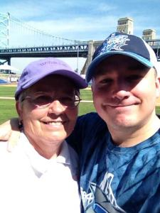 Mom and I at a Camden (NJ) Riversharks game (minor league baseball)