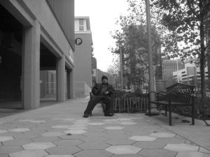 A self-timer self-portrait I did on a bench in Cleveland.